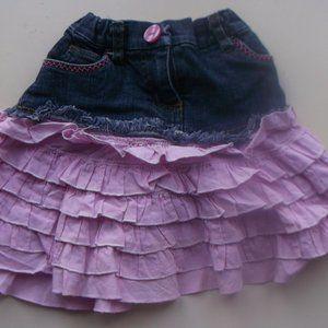 Denim Skirt w Ruffles & Adjust Waist Girl 2T